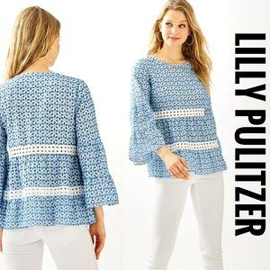 NWT Lilly Pulitzer Zazie Eyelet Top Peacock Blue